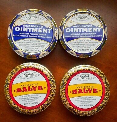 Rawleigh Antiseptic Salve   &  Medicated Ointment Set 4.5 oz. each (2 Sets)