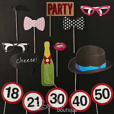 Birthday Party Photo Booth Props -Fun & Games- Selfie Kit/Set- Glasses/Moustache