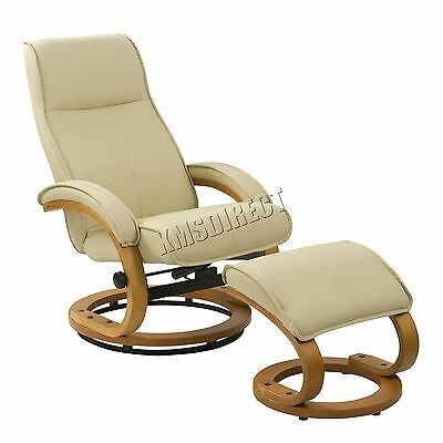 FoxHunter Executive Recliner PU Arm Chair Swivel Lounger Seat Stool RCS03 Cream