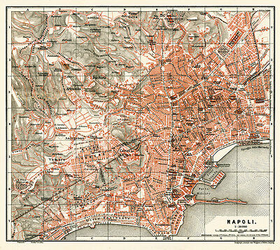 Naples, Napoli Historical City Map from 1898 (Wagner&Debes) Vintage Print Poster