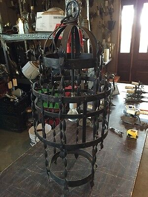 Lt 75 Antique Hand Forged Hand Hammered Iron Hanging Light Fixture