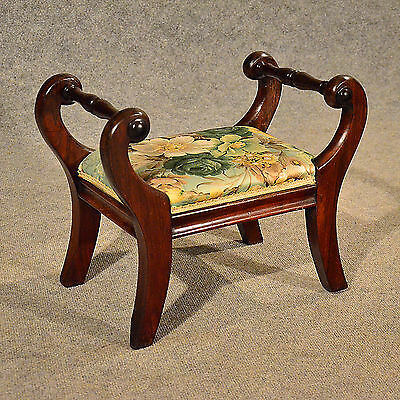 Antique Small Foot Stool Gout Rest Low Seat English Victorian Mahogany c1880