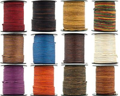 Xsotica® Round Leather Cord 1.0mm 25 Yards (75 Feet)  Over 65 Colors Available