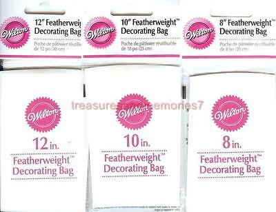 "WILTON Premium LOT of 100 FEATHERWEIGHT DECORATING BAGS 20 ea 8/"" 10/"" 12/"" 14/"" 16/"""