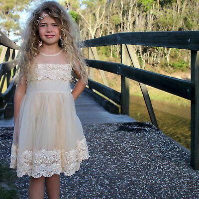 New Flower Girl Dress Princess Vintage Special Occasion Party Wedding IVORY LACE