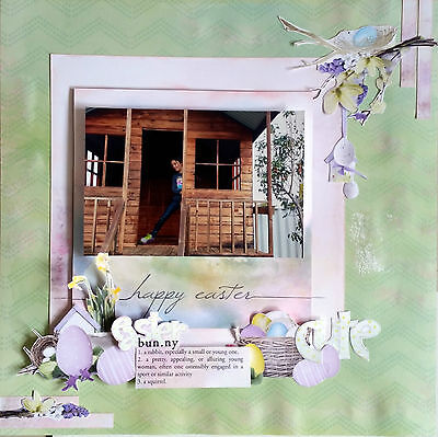 12 x 12 Handmade Scrapbook Page - Happy Easter