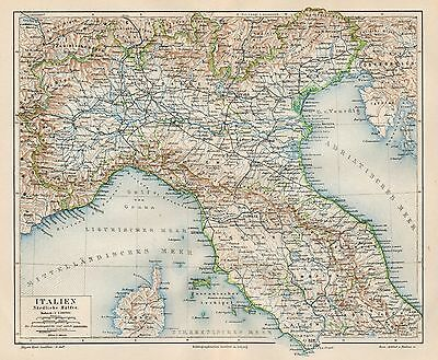 B6124 Nord Italia - Carta geografica antica del 1890 - Old map
