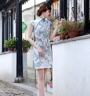 Short sleeve Oriental Cheongsam Cheong-Sam Qipao Dress Plum Flower Design