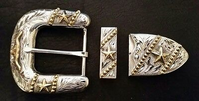 """1 1/2"""" Hand Engraved Silver & Gold Buckle Set w/ Longhorn, Stars, Antique finish"""