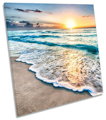 Beach Sunset Seascape SQUARE CANVAS WALL ART Picture Print