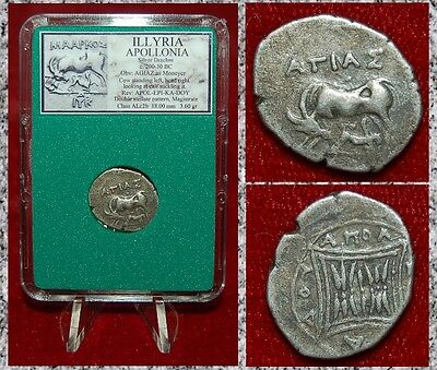 Ancient Greek Coin ILLYRIA APOLLONIA Cow With Calf Silver Drachm