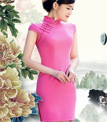 Plain Pink Color Short sleeve Oriental Cheongsam Cheong-Sam Qipao