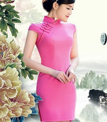 Plain Rose Pink Color Short sleeve Oriental Cheongsam Cheong-Sam Qipao