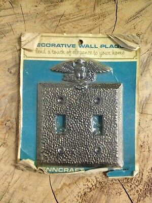Double Light Switch Plate Cover EAGLE Vintage Cast Metal Ant Brass Penncraft USA