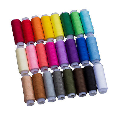 24 Assorted Colors Polyester Sewing Thre-Pack of 24 UK N3