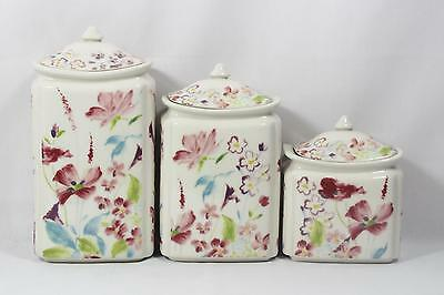 222 Fifth Garden Beauty Porcelain Floral Three Piece Canister Set / Lids New