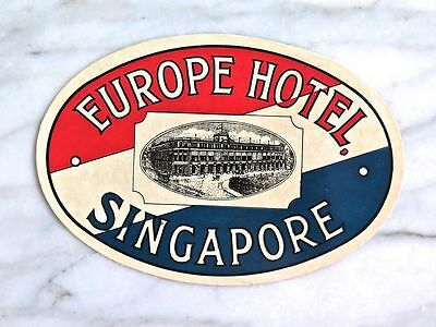 Europe Hotel, Singapore...rare Mint Original Luggage Label...circa 1910