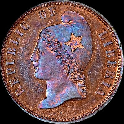 Only One Finer @ Pcgs & Ngc Pf64 Rb 1890 Liberia Cent Pattern Toned Old Holder