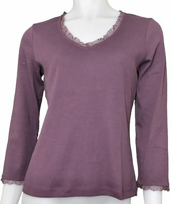 Womens 3/4 Sleeve T-Shirt Plum Lace Trim Top
