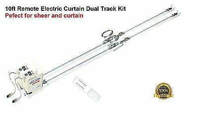 "122""  Dual  Motorized Electric Traverse Luxury Curtain Track Rod"