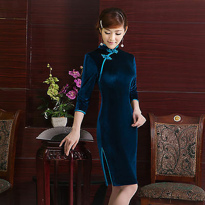 Velvet Chinese Cheongsam Chegong-sam Qipao Dress Blue color-Fast Ship from USA