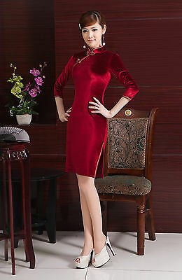 Velvet Chinese Cheongsam Chegong-sam Qipao Dress Red color-Fast Ship from USA