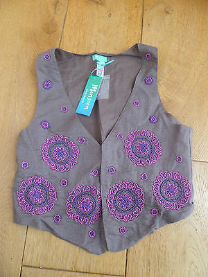 Monsoon Mocha Brown Linen Beaded Waistcoat 3 4 5 6 7 8 9 10 11 12 13 Bnwt
