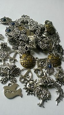 50 Mixed Tibetan Silver Charms  Designs Various Sizes