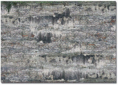 Busch 7415 NEW WEATHERED STONE WALL  2 X CARD SHEETS EA 210X148MM