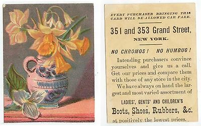 c1880s New York shoe and boot store trade card - 351 and 353 Grand Street
