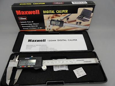"Maxwell 150 MM 6"" Digital Caliper Stainless Hardened Automatic LCD Micrometer"