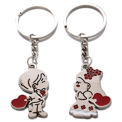 Loving Heart Keychain, Fashion Metal Couples Key Ring for Lover N3