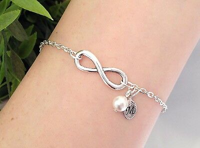 Personalised Infinity Bracelet Silver Chain Letter Charm Initial Bridesmaid Gift