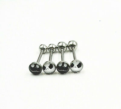 100pcs14G Nightmare Jack Tongue/Nipple Straight Barbells Body Piercing Jewelry