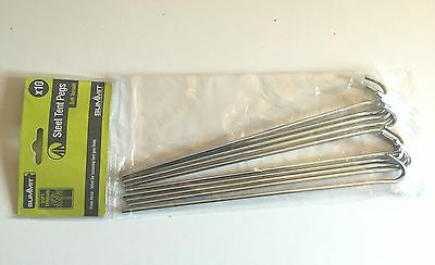 10 New Durable Steel Metal Pegs Hooks Ground Stakes Tent Camping Gazebo 9 Inch