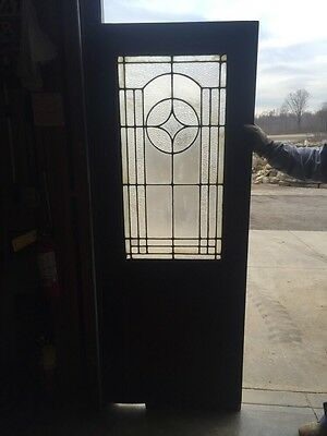 D202 Antique Swing Door With Textured Glass 29 Inch 79 Inch