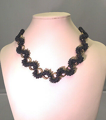 Chainmaille Black and Brass Coiled Choker Necklace, 17 Inches