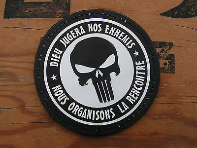 SNAKE PATCH PVC - NOIR & BLANC - PUNISHER dieu jugera nos ennemis