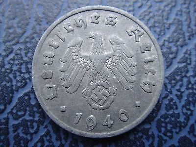 Rare Old WWII Antique Germany 3rd Reich SS Nazi Eagle 1 reichpfenning  Coin WW2