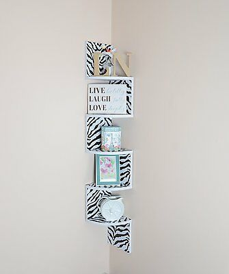 Adorn Large 5-Tier Corner Shelf,Wall Mount,Zebra with White Edging