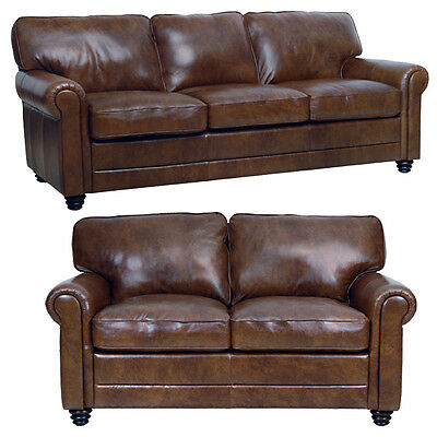"New Luke Leather Italian Brown Down 2 Piece Set - 1 Sofa and 1 Loveseat ""Andrew"""