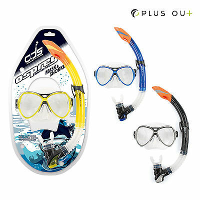 Osprey ADS Adults Mask & Snorkel Set Dive Snorkeling 4mm Tempered Glass Silicone
