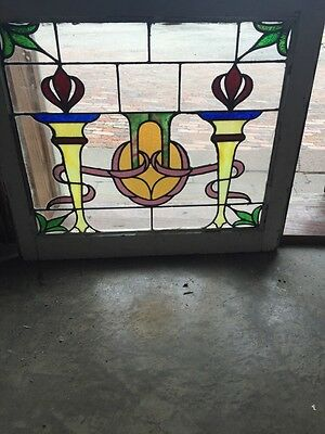 Sg 701 Two Torch Antique Stainglass Window
