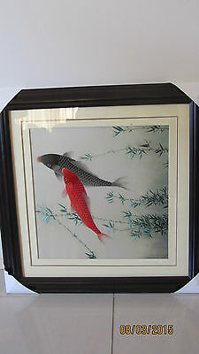 Chinese Carp Embroidery - Framed