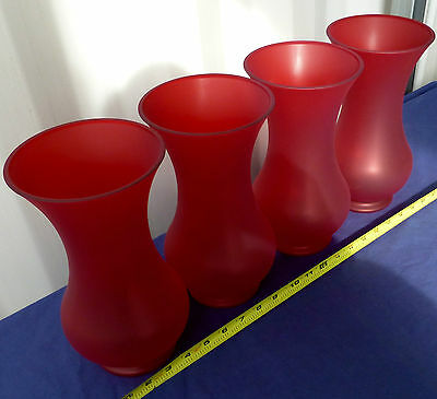 """2 pcs. 9.75""""x 5"""" NEW FROSTED RUBY RED PEDESTAL PLASTIC LARGE VASE FREE SHIPPING!"""