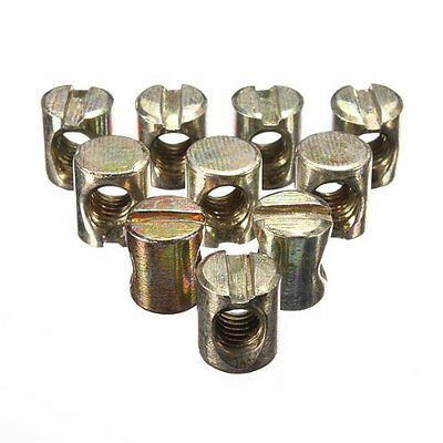 10pcs M6 Barrel Bolts Cross Dowel Slotted Furniture Nut for Beds Crib Chairs N3