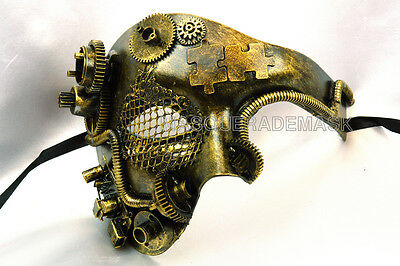 New Steampunk Silver Phantom Half Face Men Masquerade Custom Party Mask Party