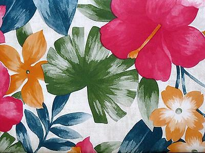 """TROPICAL FLORAL HIBISCUS PALM Vinyl Tablecloth 60 x 84""""  70 Round Rd Flowers NIP"""