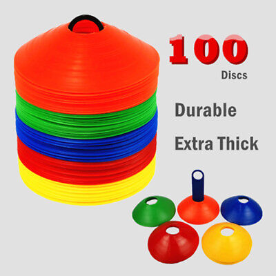 100pack sports training discs markers cones soccer afl exercise personal fitness