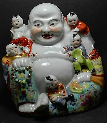 Chinese Antique Happy Porcelain Buddha Children  Famille Rose MARKED